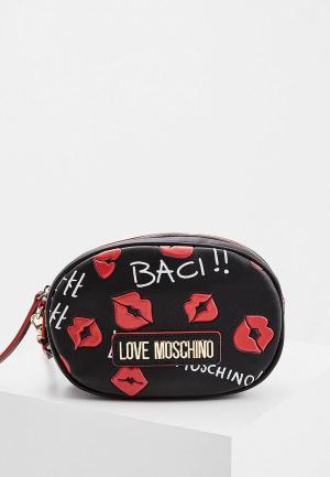 Сумка поясная Love Moschino. Цвет: черный