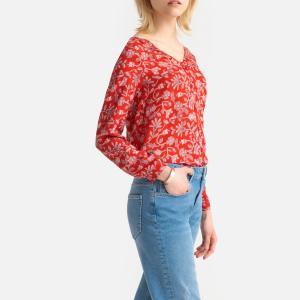 Блузка струящаяся с V-образным вырезом и цветочным рисунком COMPANIA FANTASTICA. Цвет: красный