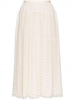 Кружевная юбка миди Chloé. Цвет: белый