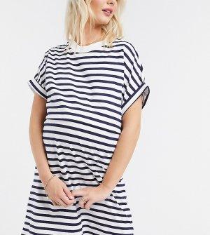 Платье мини в полоску ASOS DESIGN Maternity Nursing-Черный