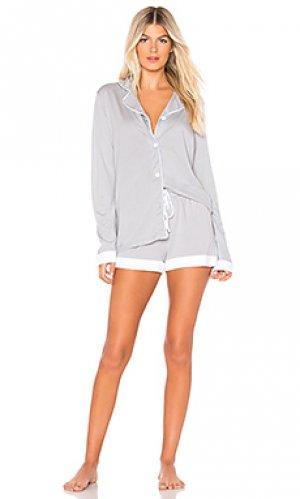 Пижамный комплект с шортами и майкой bella bridal Cosabella. Цвет: серый