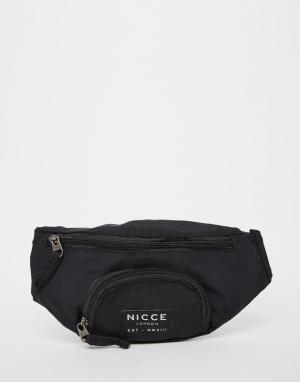 Сумка-кошелек на пояс с логотипом Nicce London. Цвет: черный