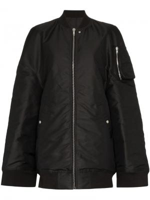 Куртка-бомбер в стиле оверсайз Rick Owens. Цвет: черный