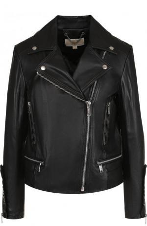 Однотонная кожаная куртка с косой молнией MICHAEL Kors. Цвет: черный
