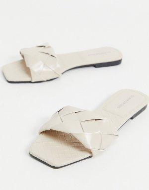 Плетеные шлепанцы на плоской подошве -Белый Glamorous