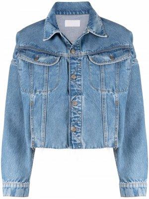 Укороченная джинсовая куртка с бахромой Boyish Jeans. Цвет: синий