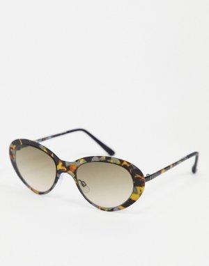 Солнцезащитные очки в овальной черепаховой оправе -Коричневый цвет AJ Morgan