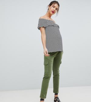 Стретчевые брюки карго Isabella Oliver. Цвет: зеленый