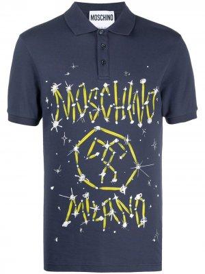 Рубашка поло с логотипом Couture Moschino. Цвет: синий