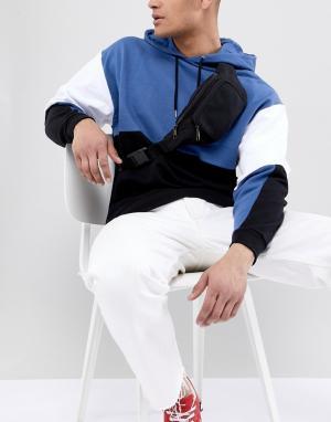 Сумка-кошелек на пояс с винтажным выбеленным эффектом 7X. Цвет: черный