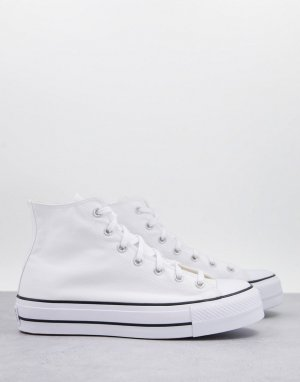 Белые высокие кроссовки на слоеной подошве Chuck Taylor All Star Hi Lift-Белый Converse