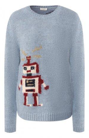 Шерстяной пуловер Saint Laurent. Цвет: синий