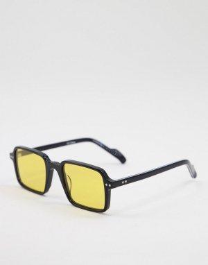 Солнцезащитные очки унисекс в черной квадратной оправе с желтыми линзами Cut Thirty Two-Черный цвет Spitfire