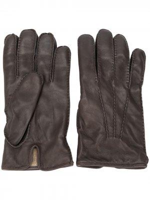 Однотонные перчатки Ermenegildo Zegna. Цвет: коричневый