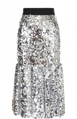 Юбка-миди с эластичным поясом и пайетками Dolce & Gabbana. Цвет: серебряный