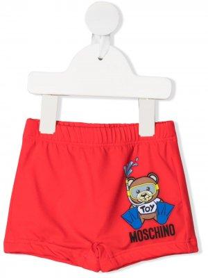 Плавки-шорты с принтом Teddy Diver Moschino Kids. Цвет: красный