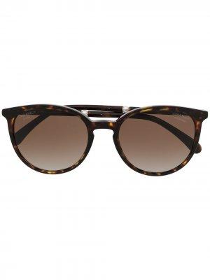 Солнцезащитные очки в круглой оправе Chanel Eyewear. Цвет: коричневый