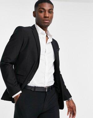 Однотонный приталенный пиджак -Черный цвет French Connection