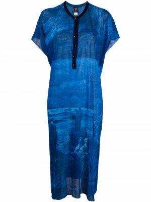 Пляжное платье 2000-х годов с принтом Jean Paul Gaultier Pre-Owned. Цвет: синий