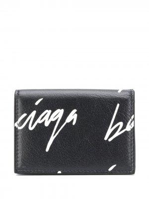 Мини-кошелек Cash с логотипом Balenciaga. Цвет: черный