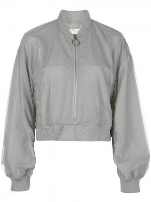 Куртка-бомбер с логотипом Off-White. Цвет: серебристый