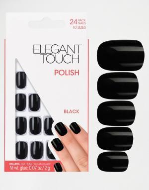 Квадратные накладные ногти -Черный Elegant Touch