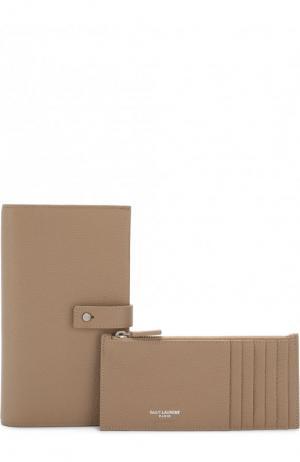 Кожаное портмоне с футляром для кредитных карт Saint Laurent. Цвет: бежевый