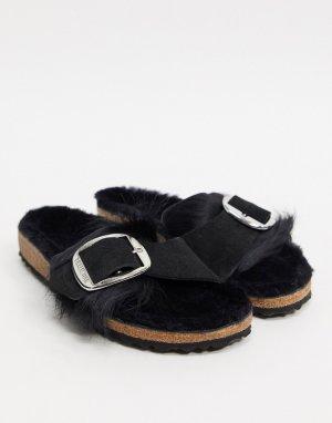 Черные шлепанцы с искусственным мехом и пряжками -Черный Birkenstock