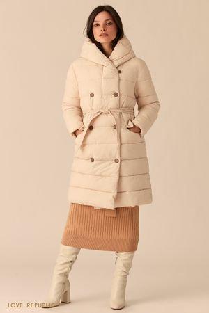 Стеганое двубортное пальто бежевого цвета с капюшоном LOVE REPUBLIC