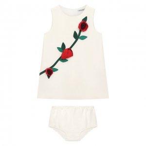 Комплект из платья и шорт Dolce & Gabbana. Цвет: белый