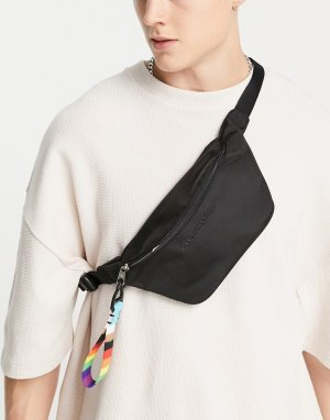 Черная сумка-кошелек на пояс с текстовым логотипом и ремешком символом движения Pride -Черный цвет Calvin Klein Jeans
