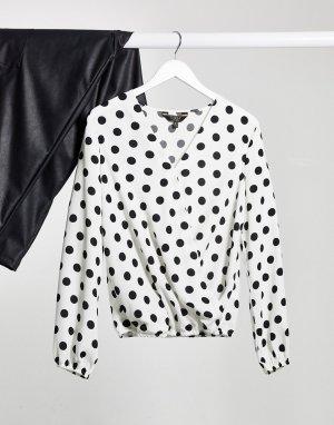 Блузка в горошек на запахе -Мульти Lipsy