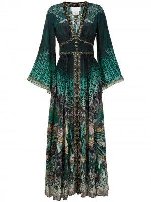 Shirring-detail kimono-sleeve dress Camilla. Цвет: зеленый
