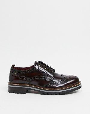 Бордовые блестящие ботинки-броги Сolver-Красный Base London