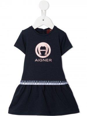 Платье мини А-силуэта с логотипом Aigner Kids. Цвет: синий