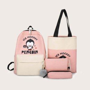Рюкзак с принтом пингвина и пеналом для девочек 4шт SHEIN. Цвет: розовые