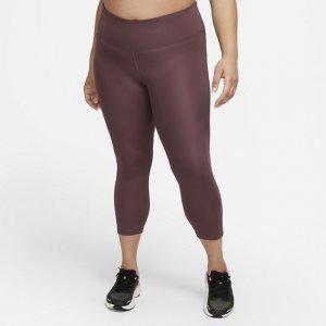 Женские укороченные леггинсы для бега со средней посадкой Fast (большие размеры) - Красный Nike