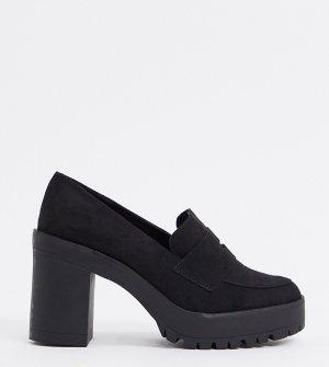 Черные лоферы для широкой стопы на каблуке -Черный London Rebel