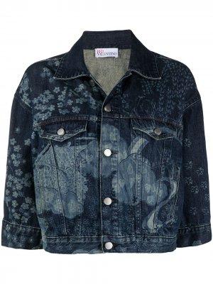 Джинсовая куртка с узором Oriental Toile de Jouy RED Valentino. Цвет: синий