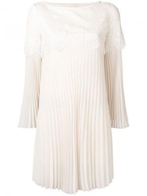 Приталенное платье с кружевной вставкой Aniye By. Цвет: бежевый