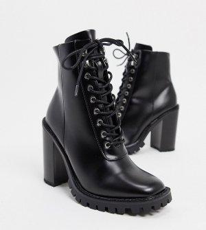Черные полусапожки для широкой стопы на каблуке -Черный ASOS DESIGN