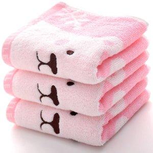 1шт Полотенце вышивкой медведя SHEIN. Цвет: розовые