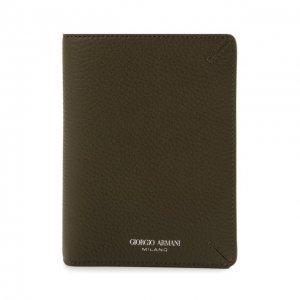 Кожаная обложка для паспорта Giorgio Armani. Цвет: хаки
