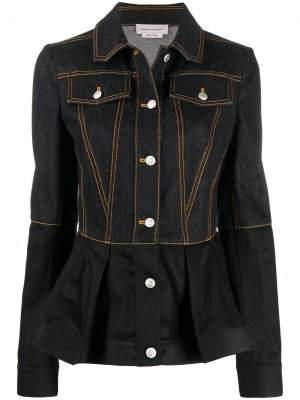Джинсовая куртка с оборками на подоле Alexander McQueen. Цвет: черный