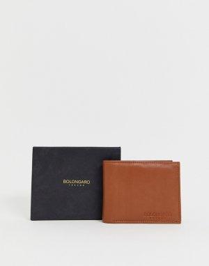 Кожаный кошелек с тисненым логотипом -Коричневый Bolongaro Trevor
