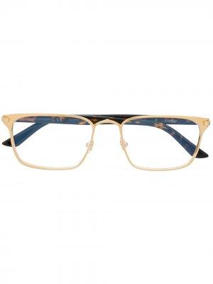Очки C Decor в прямоугольной оправе Cartier Eyewear. Цвет: золотистый