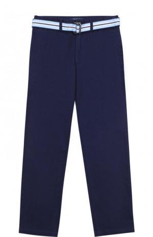Хлопковые брюки с ремнем Polo Ralph Lauren. Цвет: синий