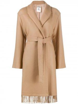 Пальто с запахом и бахромой Semicouture. Цвет: коричневый