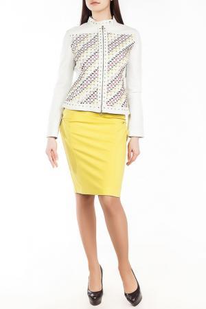 Куртка кожаная Versace Collection. Цвет: белый