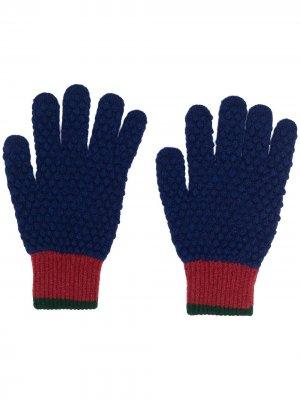 Перчатки с контрастными вставками PS Paul Smith. Цвет: синий